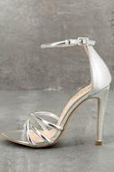 Michella Silver Ankle Strap Heels 1