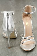 Michella Silver Ankle Strap Heels 2