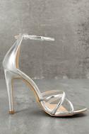 Michella Silver Ankle Strap Heels 3