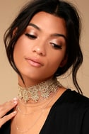More than Yesterday Gold Lace Layered Choker Necklace 1