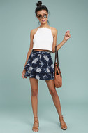 Won't Let Go Navy Blue Floral Print Mini Skirt 2