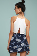 Won't Let Go Navy Blue Floral Print Mini Skirt 3
