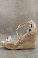Roselyn Natural Embroidered Espadrille Wedges 1