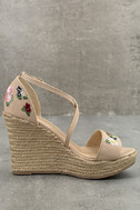 Roselyn Natural Embroidered Espadrille Wedges 3