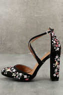 Lottie Black Embroidered Ankle Strap Heels 1