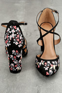 Lottie Black Embroidered Ankle Strap Heels 2