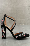 Lottie Black Embroidered Ankle Strap Heels 3