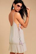 PPLA Gia Light Beige Lace-Up Dress 1