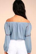 Jude Denim Blue Embroidered Off-the-Shoulder Crop Top 3