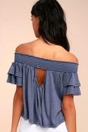 Always Stylish Washed Blue Off-the-Shoulder Crop Top 4
