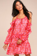 Adelyn Rae Kaileen Red Floral Print Long Sleeve Dress 1