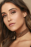 Ceremonious Gold and Brown Layered Choker Necklace 1