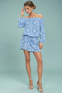 Lucy Love West Indies Light Blue Print Off-the-Shoulder Dress 2