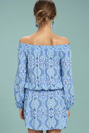 Lucy Love West Indies Light Blue Print Off-the-Shoulder Dress 4