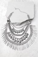Fortune Teller Silver Layered Choker Necklace 1