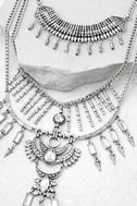 Gypsy Dreams Silver Layered Statement Necklace 2