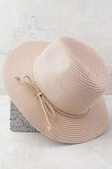 Love at Sunset Blush Pink Straw Fedora Hat 1