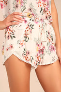 Flowing in the Wind White Floral Print Shorts 1