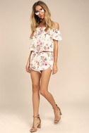 Flowing in the Wind White Floral Print Shorts 3