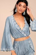 Lost + Wander Solstice Blue Embroidered Chambray Crop Top 1