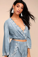 Lost + Wander Solstice Blue Embroidered Chambray Crop Top 2