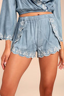 Lost + Wander Solstice Blue Embroidered Chambray Shorts 1