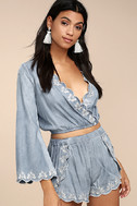 Lost + Wander Solstice Blue Embroidered Chambray Shorts 2