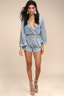 Lost + Wander Solstice Blue Embroidered Chambray Shorts 3