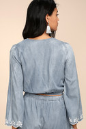 Lost + Wander Solstice Blue Embroidered Chambray Shorts 4