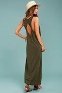 PPLA Pearl Olive Green Midi Dress 2