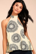 Billabong Moonbud Black and Beige Print Top 1
