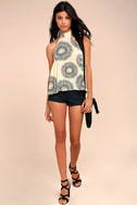 Billabong Moonbud Black and Beige Print Top 2