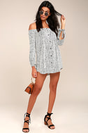 Into the Festival White Striped Off-the-Shoulder Dress 2