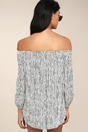 Into the Festival White Striped Off-the-Shoulder Dress 3
