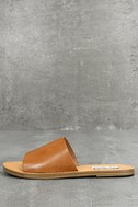 Steve Madden Grace Cognac Leather Slide Sandals 1