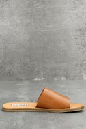 Steve Madden Grace Cognac Leather Slide Sandals 3