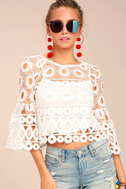 Nearness of You White Crochet Crop Top 1
