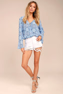 Lucy Love Amsterdam Light Blue Print Long Sleeve Top 2