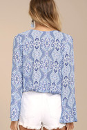 Lucy Love Amsterdam Light Blue Print Long Sleeve Top 3