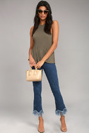 Love Forever Taupe Pleated Tank Top 2