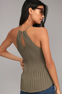 Love Forever Taupe Pleated Tank Top 3