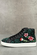 Steve Madden Allie Green Multi Embroidered High-Top Sneakers 1