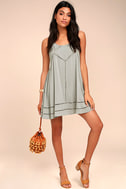 Sister Moon Grey Embroidered Swing Dress 2