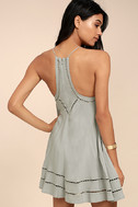 Sister Moon Grey Embroidered Swing Dress 3