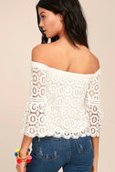 Good Day White Crochet Off-the-Shoulder Top 2