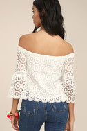 Good Day White Crochet Off-the-Shoulder Top 3