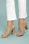 Report Marlo Taupe Suede Peep-Toe Mules 2
