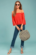 Good Day Red Crochet Off-the-Shoulder Top 2