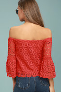 Good Day Red Crochet Off-the-Shoulder Top 3