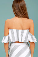 Sea of Cortez Grey and White Striped Off-the-Shoulder Crop Top 3